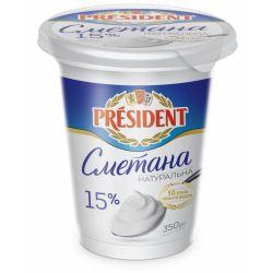 """Сметана 15% 350г. стакан """"Президент"""""""